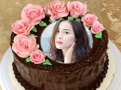 Ghép ảnh bánh sinh nhật hoa hồng
