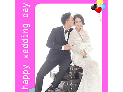 Ghép ảnh happy wedding day