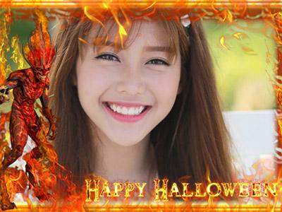 Khung ảnh lửa chúc mừng halloween