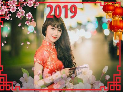 Khung ảnh hoa đào Tết 2019