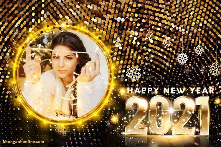 Tạo khung ảnh chúc mừng năm mới 2021 lấp lánh