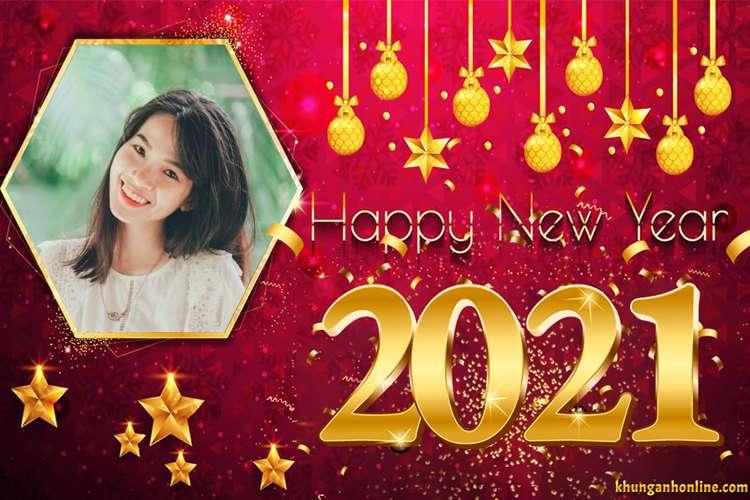 Khung ảnh năm mới 2021 nền đỏ với đồ trang trí