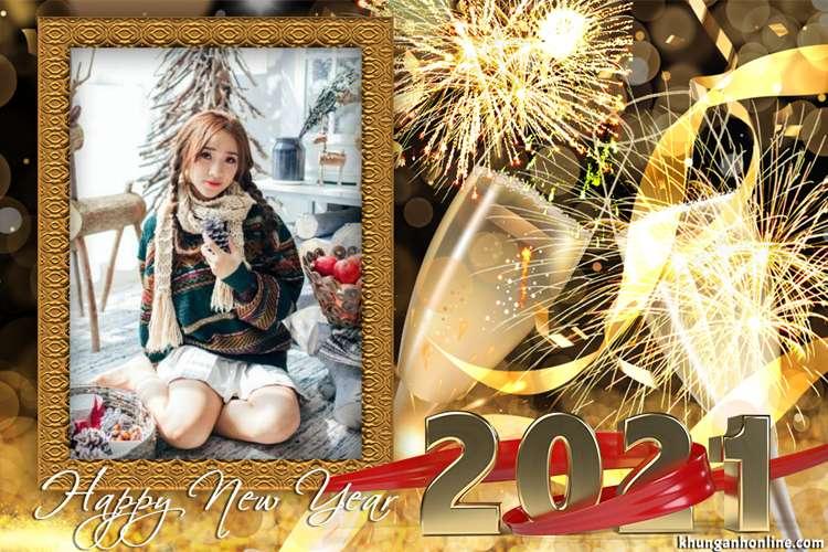 Ghép khung ảnh năm mới 2021 vàng sang trọng