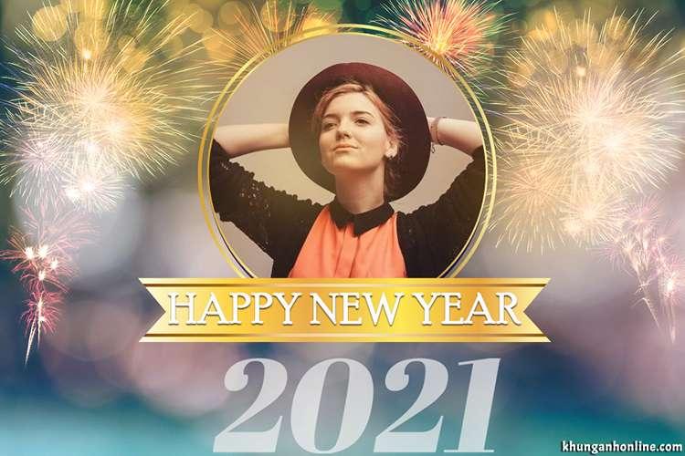 Mẫu khung ảnh chúc mừng năm mới 2021 với pháo hoa rực rỡ