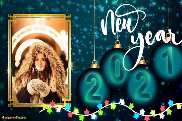 Thiệp chúc mừng năm mới 2021 với khung ảnh