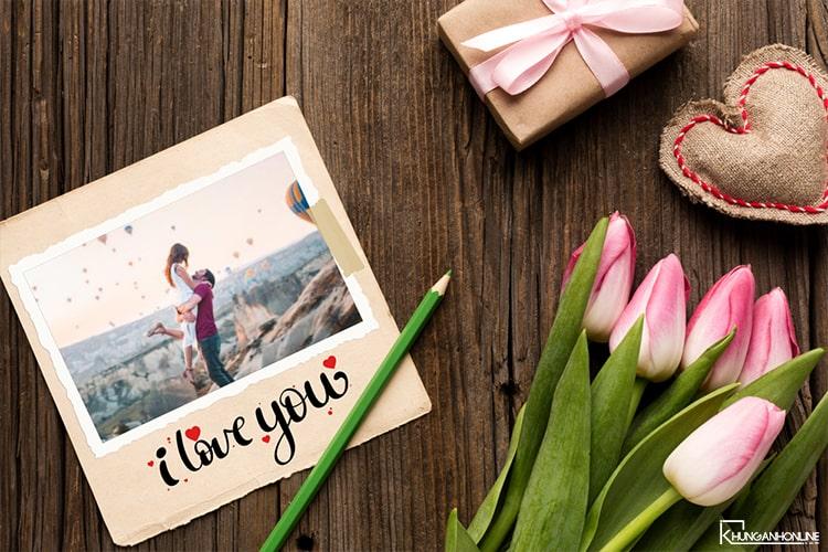 Ghép ảnh tình yêu với hoa Tulip trực tuyến
